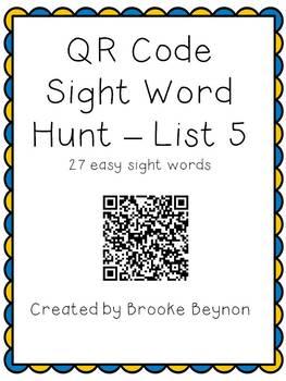 QR Code Sight Word Hunt - List 5