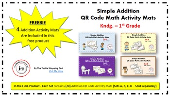 QR Code Simple Addition Activity Mats - FREE Preview