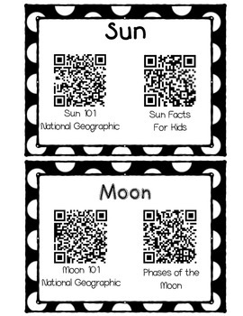 QR Code Solar System Vocabulary Center