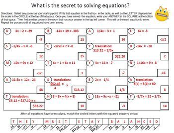 Solving Equations QR code Scavenger Hunt Activity - Great unit or STAAR Review