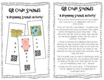 QR Code Sounds {A Beginning Sounds Activity}