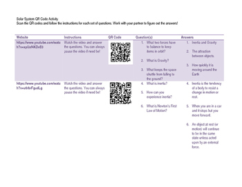 QR Code Space Science Activity