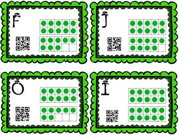 St Patricks Math in Motion-read the Room Tens frames 1-20 w QR codes