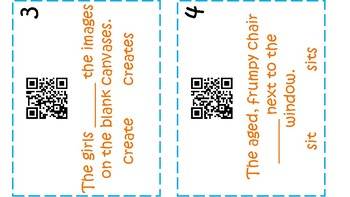 QR Code Subject Verb Agreement Task Cards