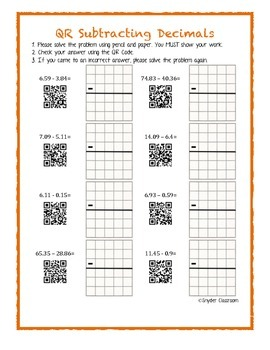 QR Code Subtracting Decimals Worksheets