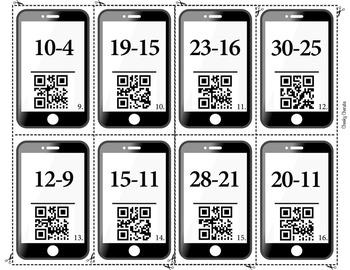 QR Code Subtraction Double Digit - Flash Cards - FREE