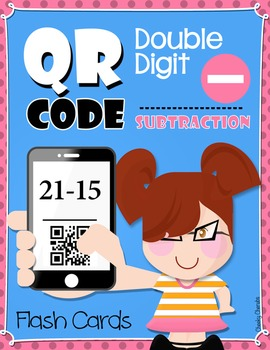 QR Code Subtraction Double Digit - Flash Cards - FREE