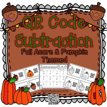 QR Code Subtraction - Fall Acorn & Pumpkin Themed