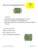 QR Code Subtraction Using  Expanded Notation Video, Worksheet and Answers