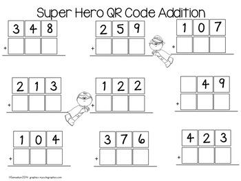 QR Code Super Hero Addition/Subtraction Task Cards