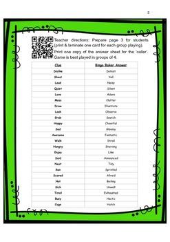 QR Code Synonym Bingo