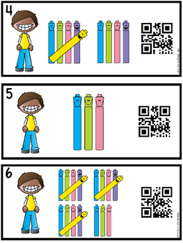 QR Code Tally Mark Counting Task Cards 1-20 Markers