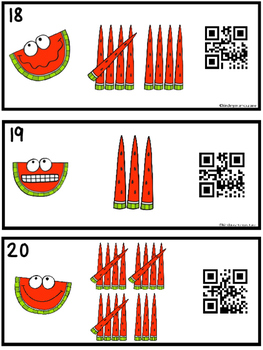 QR Code Tally Mark Counting Task Cards 1-20 Watermelon