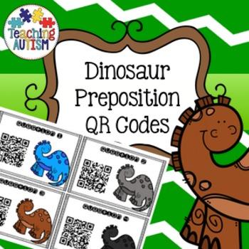 Dinosaur QR Code PrepositionTask Cards