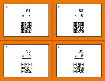 QR Code Task Cards: 2-Digit by 1-Digit Multiplication