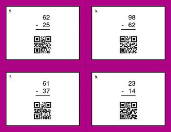 QR Code Task Cards: 2-Digit Subtraction