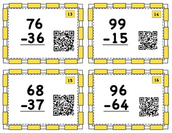 QR Code Task Cards - 2-Digit Subtraction NO Regrouping