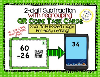 QR Code Task Cards - 2-Digit Subtraction With Regrouping