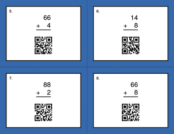QR Code Task Cards: 2-Digit and 1-Digit Addition