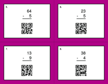 QR Code Task Cards: 2-Digit and 1-Digit Subtraction