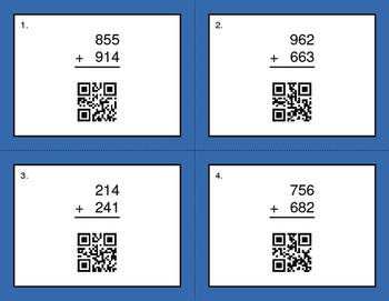 QR Code Task Cards: 3-Digit Addition