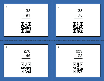 QR Code Task Cards: 3-Digit and 2-Digit Addition
