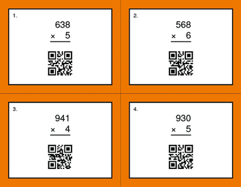 QR Code Task Cards: 3-Digit by 1-Digit Multiplication