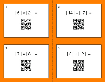 QR Code Task Cards: Absolute Value - Multiplication & Division