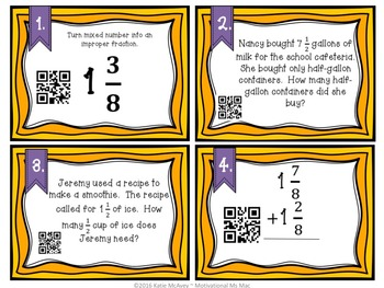 QR Code Task Cards: Add/Subtract Mixed/Improper Fractions with LIKE denominators