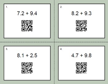 QR Code Task Cards: Adding Decimals