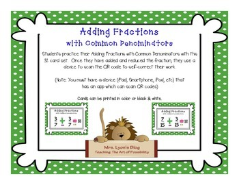 QR Code Task Cards: Adding Fractions with Common Denominators