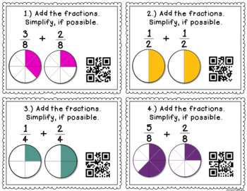 QR Code Task Cards: Adding and Subtracting Fractions With Like Denominators