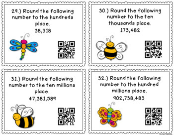 QR Code Math Task Cards: Rounding