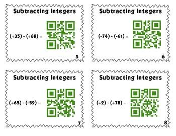 QR Code Task Cards: Bundle Pack - Adding & Subtracting Integers