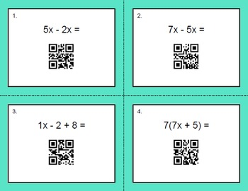 QR Code Task Cards: Combining Like Terms