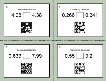 QR Code Task Cards: Comparing Decimals