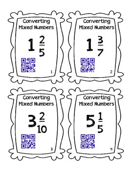 QR Code Task Cards: Converting Mixed Numbers to Improper Fractions