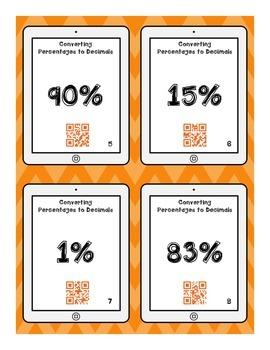QR Code Task Cards: Converting Percentages to Decimals