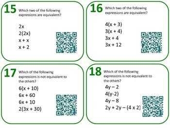 QR Code Task Cards Grade 6 Expressions & Equations Common Core Aligned