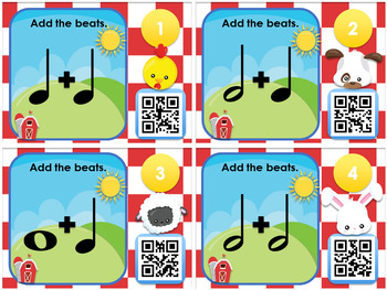 QR Code Task Cards - Farm Beats Notes and Rests #stealofadeal