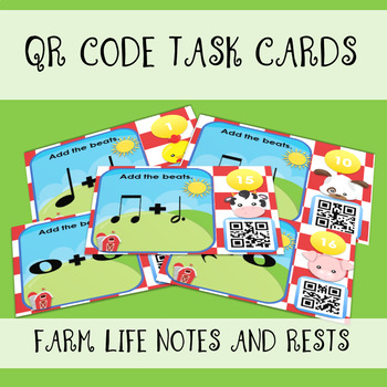 QR Code Task Cards - Farm Beats Notes and Rests