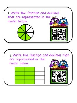 Converting Fractions to Decimals-QR Code Task Cards