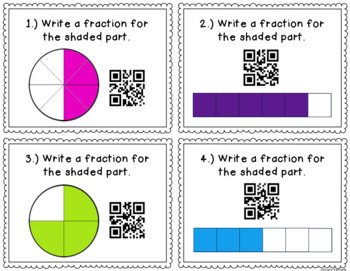 QR Code Task Cards: Fractions: Identifying, Comparing, Ordering, Equivalence