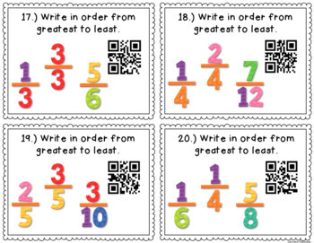 QR Code Task Cards: Fractions