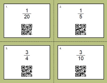 QR Code Task Cards: Fractions to Percents