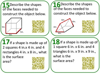 QR Code Task Cards Grade 6 Geometry Common Core Aligned