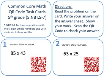 QR Code Task Cards Grade 5 Numbers and Operations in Base Ten-Set 2