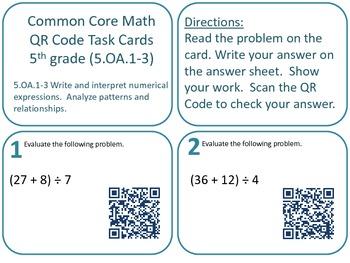 QR Code Task Cards Grade 5 Operations & Algebraic Thinking