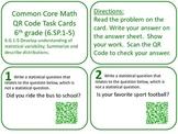 QR Code Task Cards Grade 6 Statistics & Probability Common Core Aligned