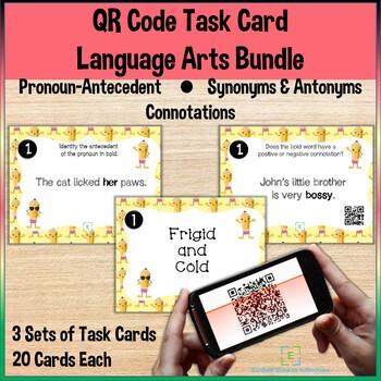 QR Code Task Cards Language Arts Bundle